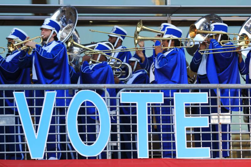 Fayetteville State University's marching band kicks off the early vote event with President Bill Clinton at the university in Fayetteville, North Carolina.