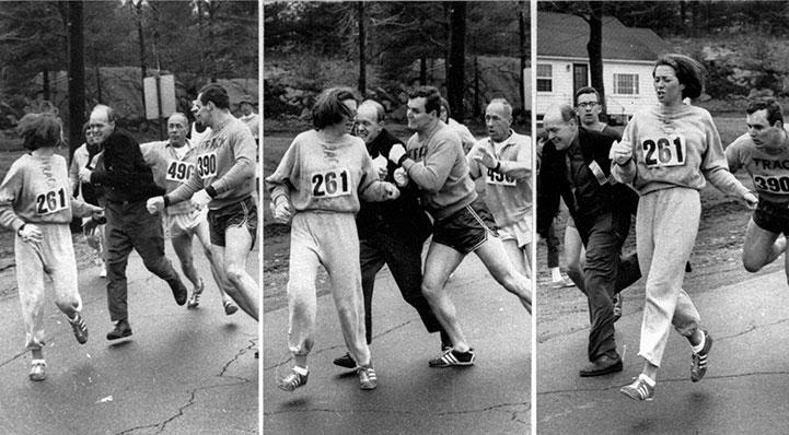 Kathrine Switzer, running the Boston Marathon in 1967, is attacked by the race director.