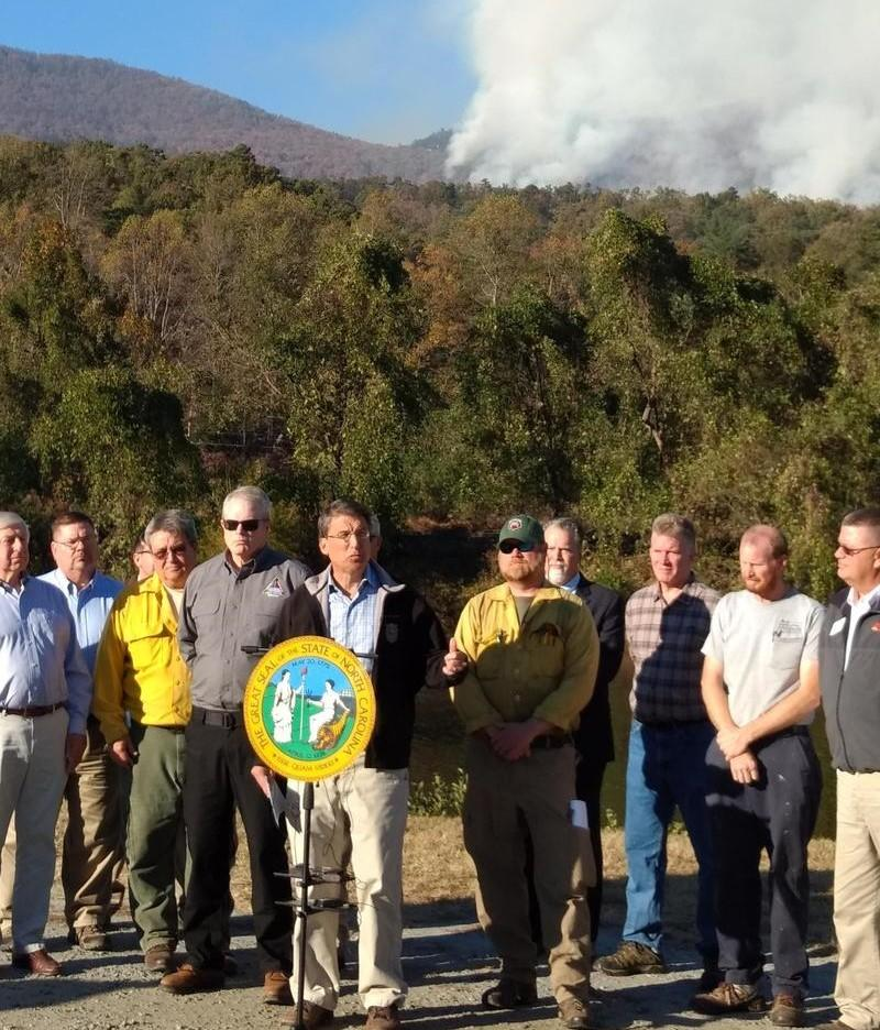 Gov. Pat McCrory first visited the fire near Lake Lure on Thursday, Nov. 10, 2016