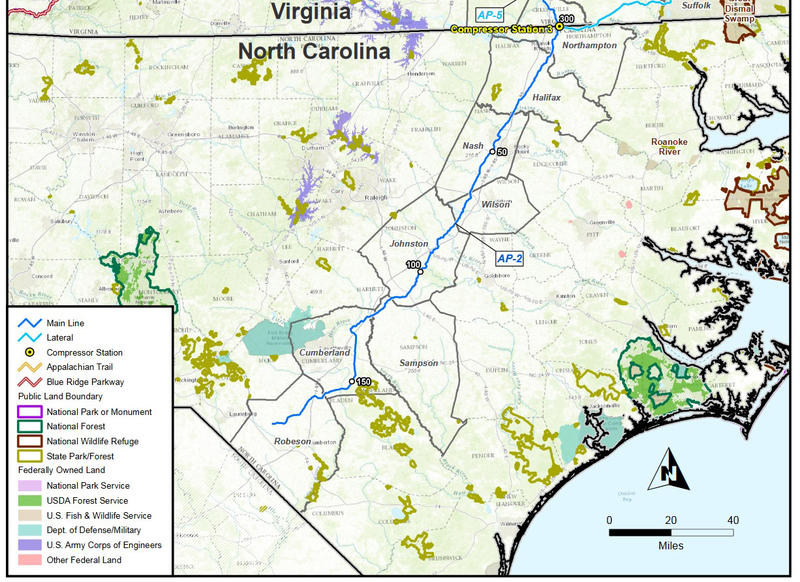 a map of a proposed natural gas pipeline