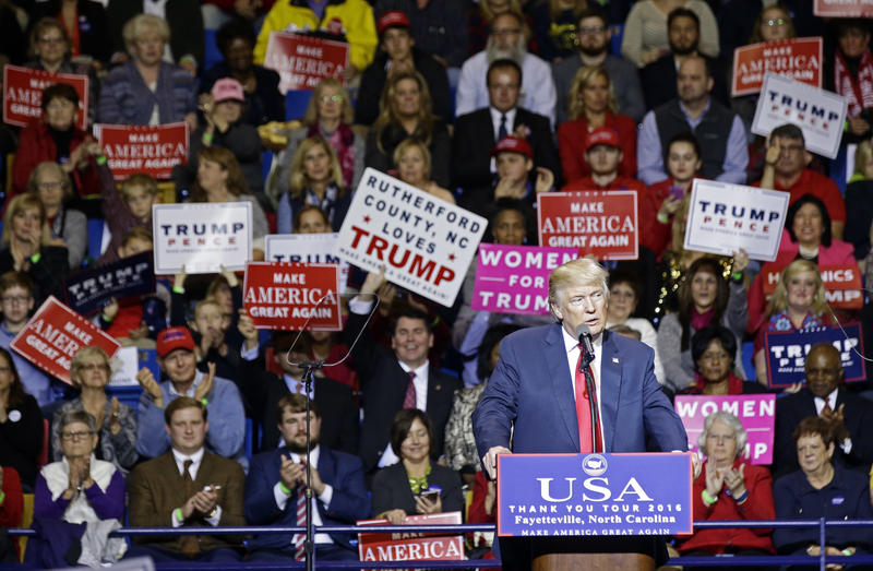 President-elect Donald Trump speaks to supporters during a rally in Fayetteville, N.C., Tuesday, Dec. 6, 2016.
