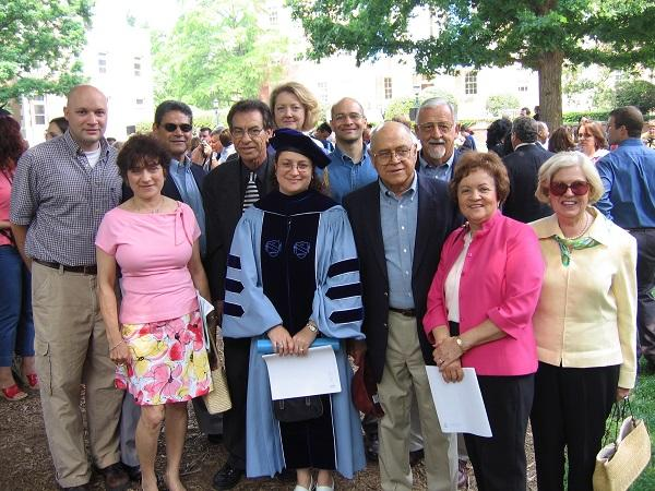 Malinda Maynor Lowery with some of her family recieving her PhD in history from UNC-Chapel Hill in 2005.