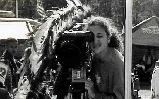 Malinda Maynor Lowery filming at a Lumbee powwow in 1996. Maynor Lowery is now a professor of history at UNC-Chapel Hill.