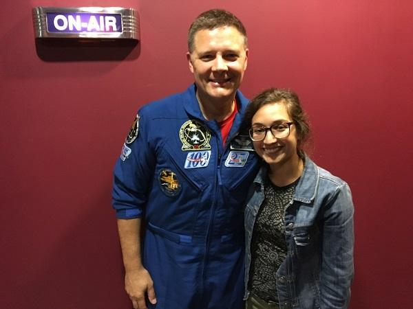Photograph of Producer Anita Rao with NASA Astronaut Doug Wheelock