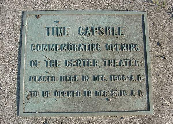 Image of time capsule buried in The Center Theater in Durham's Lakewood neighborhood.