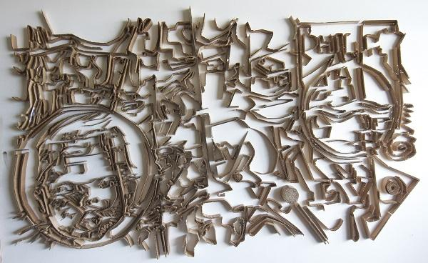 Cardboard drawing by Sherrill Roland during the first year of his MFA program at UNC-Greensboro.