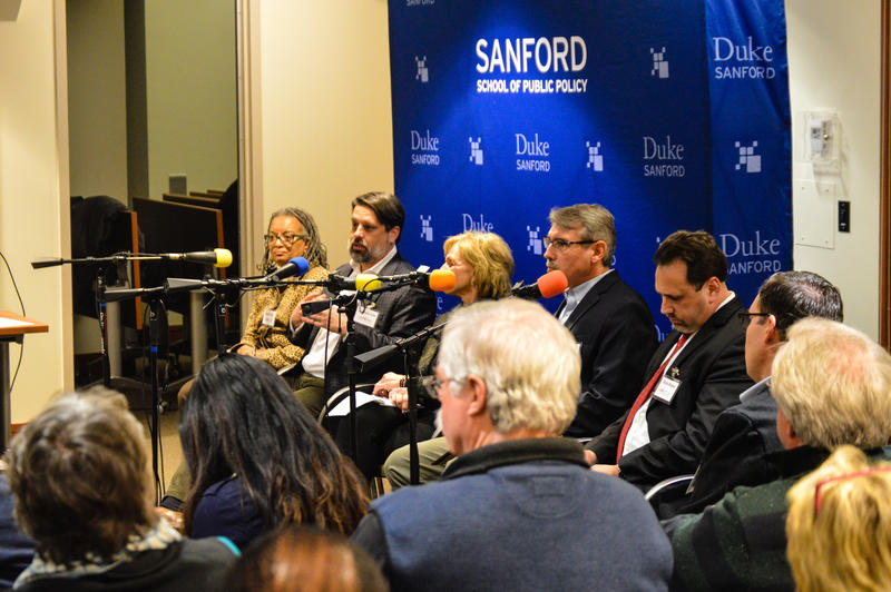 "Panelists of ""A Nation Engaged,"" a pre-inauguration town hall meeting help at Duke University's Sanford School of Public Policy on Jan. 11, 2017."