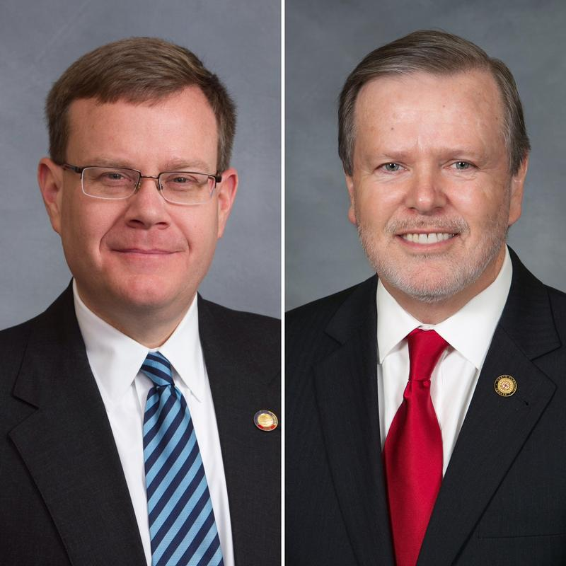 Composite photo of House Speaker Tim Moore (R-Cleveland) and Senate Pro Tem Phil Berger (R-Rockingham).