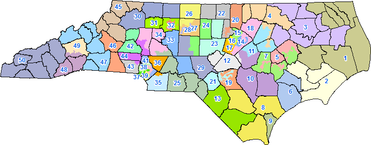NC's Senate election map, now ruled unconstitutional, will have to be redrawn by the state Legislature in 2017.