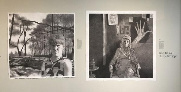 Portraits of former teacher and student and now friends Janet Link and Sherry di Filippo. di Filippo did a graphite drawing based on childhood photographs of Link while Link did an in-studio charcoal portrait.