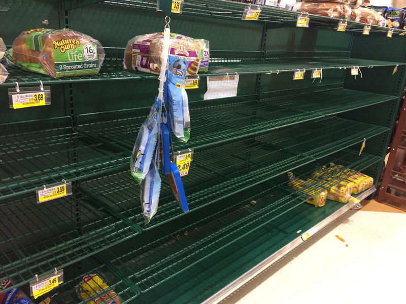 An empty supermarket shelf on Thursday, January 5, 2016. Triangle area residents prepared for the first major snowstorm of the season by stocking up on the basics.