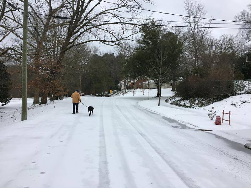Winter weather hits W. Forest Hills Blvd in Durham