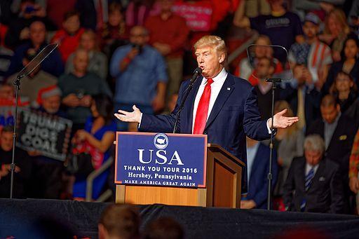 President Trump giving victory speech