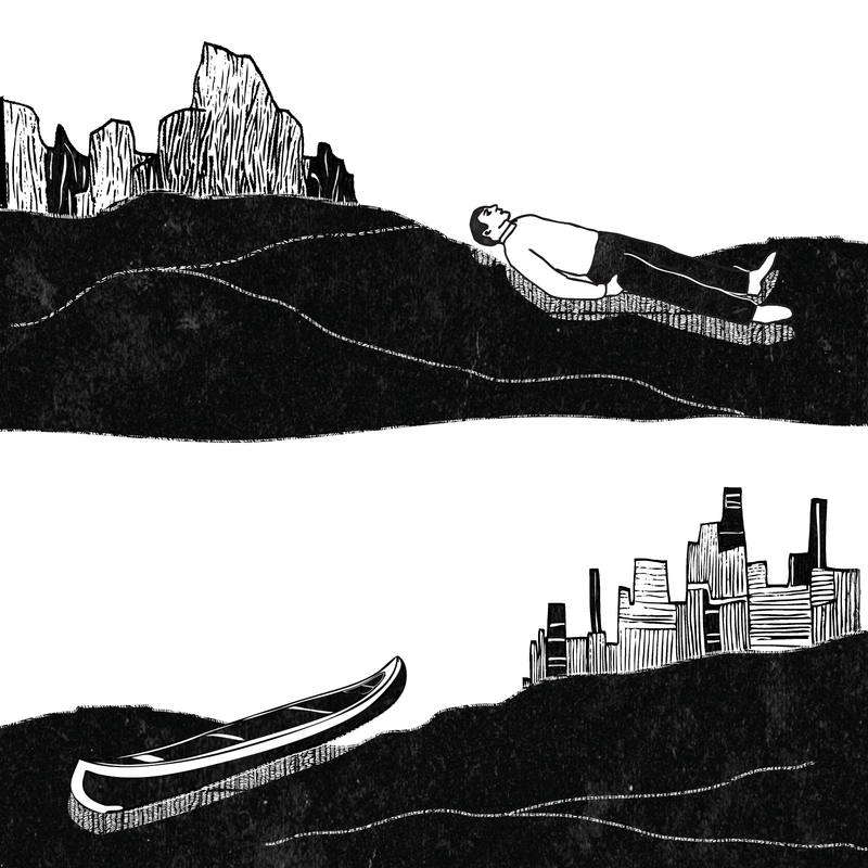 A drawing of a body and an empty canoe.