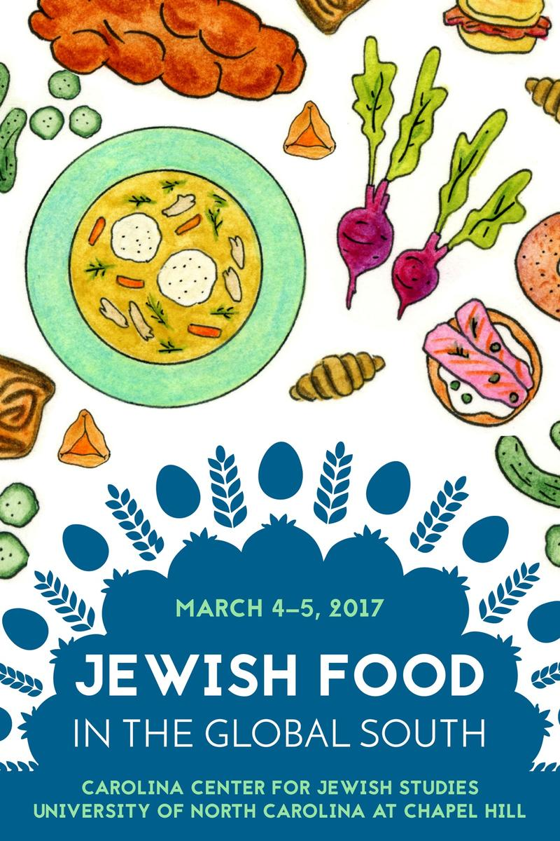 An image of a poster for the symposium 'Jewish Food in the Global South'