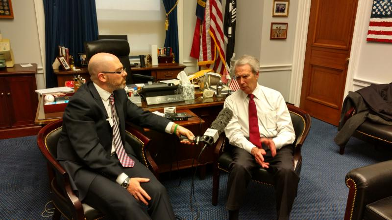 WUNC Capitol Bureau Chief Jeff Tiberii interviews North Carolina's ranking member of Congress, Rep. Walter Jones.