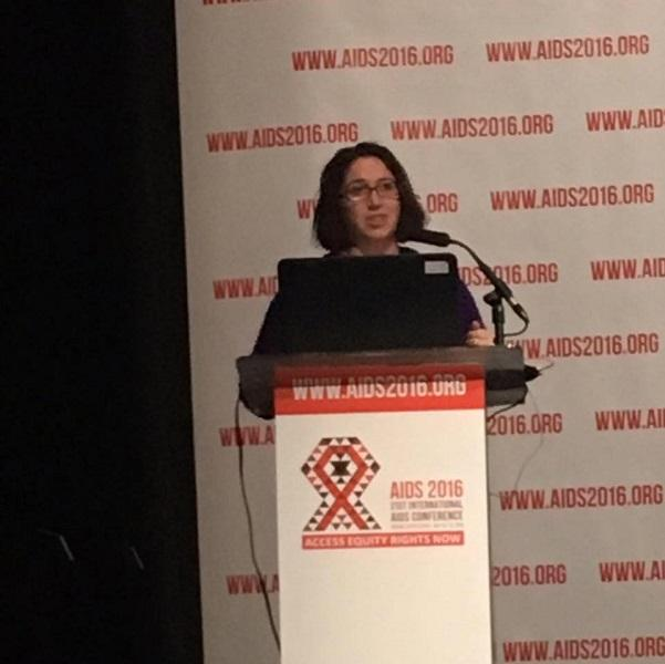Lisa Hightow-Weidman speaking at the International AIDS Meeting in South Africa in 2016.