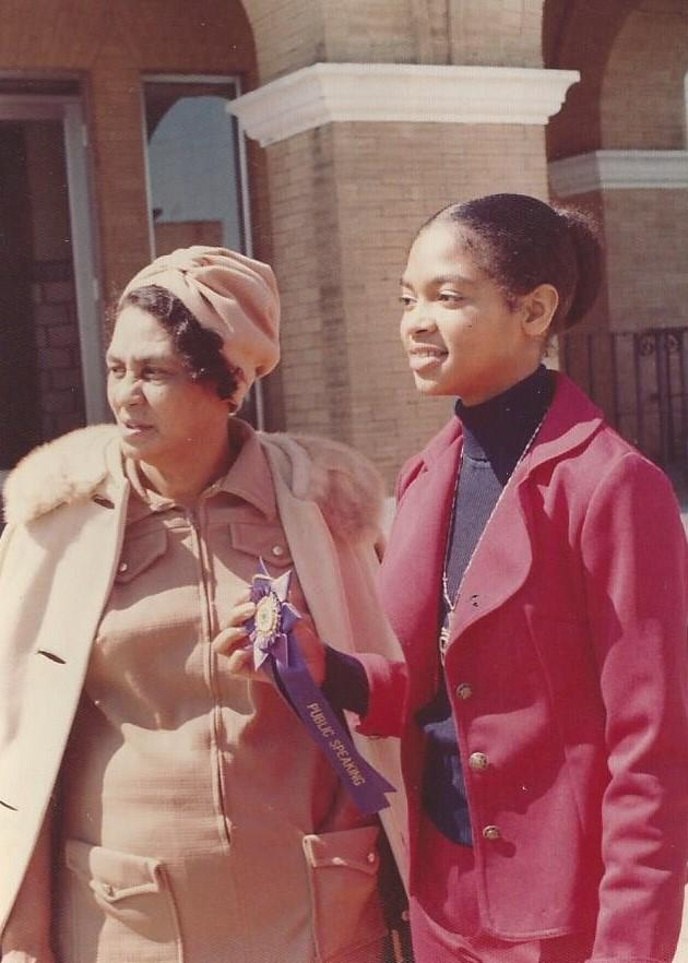 Phyliss Craig-Taylor (then Craig) with her mother Thelma Craig in 1974 after winning the 4-H Public Speaking Contest.
