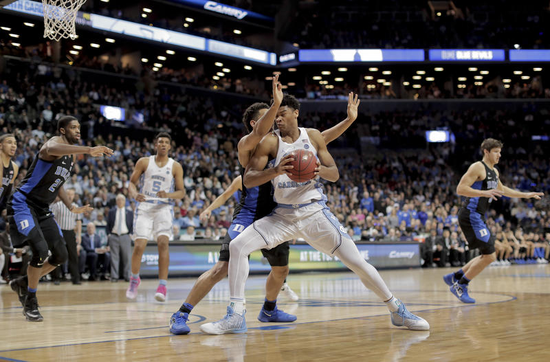 North Carolina forward Isaiah Hicks (4) drives against Duke in the first half of an NCAA college basketball game during the semifinals of the Atlantic Coast Conference tournament, Friday, March 10, 2017, in New York.