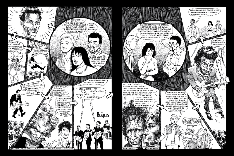 "A spread from the new comic book, ""Theft! A History of Music""."