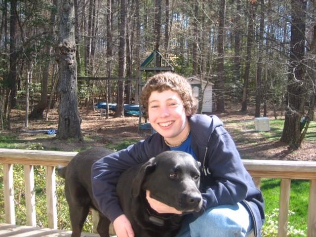 Drew Gintis and his dog