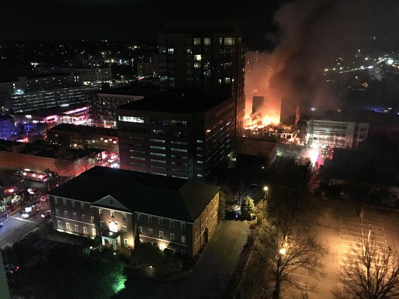 View of the fire from the roof of the Holiday Inn in downtown Raleigh