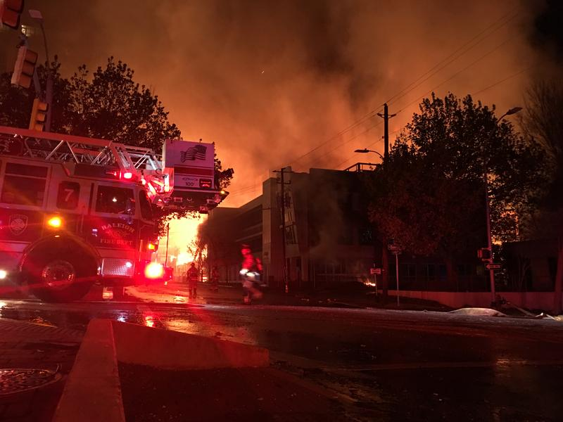 Firefighters battle the downtown Raleigh fire