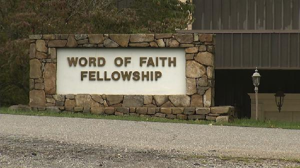 This 2016 image from video shows the entrance to the Word of Faith Fellowship church in Spindale, N.C. Newcomers to the Word of Faith Fellowship live by a list of strict rules for daily life, which sect leader Jane Whaley says God revealed to her.