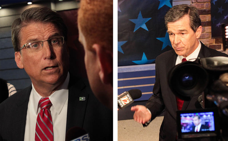 House Bill 2 became a key issue in the 2016 North Carolina gubernatorial campaign. Gov. Pat McCrory (left) and current Gov. Roy Cooper (right) are pictured during the final gubernatorial debate on October 18, 2016.