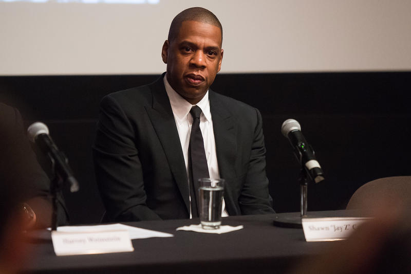 "Shawn ""Jay Z"" Carter announces the Weinstein Television and Spike TV release of ""TIME: The Kalief Browder Story"" during a press conference at The Roxy Hotel Cinema on Thursday, Oct. 6, 2016, in New York."