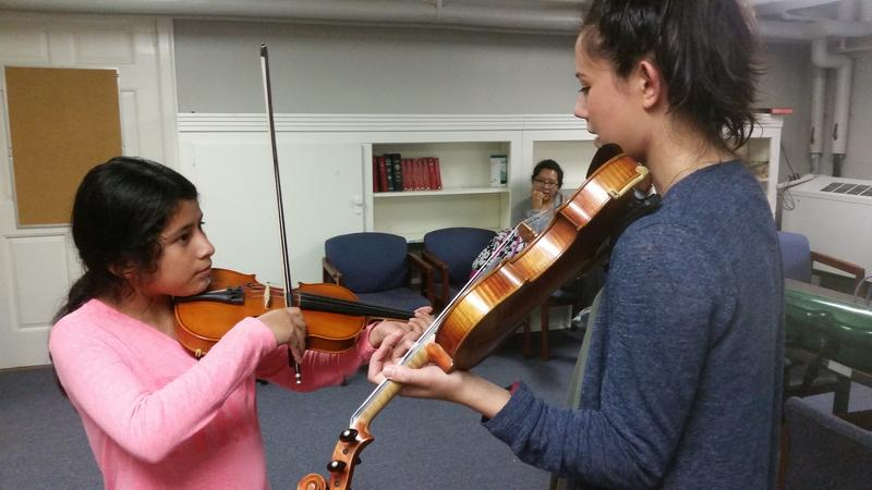 "Fourth-grader Alexa has been taking lessons with Musical Empowerment volunteer Mai Riquier for the past three years. She says that without violin lessons, she'd be ""so stressed out,"" and that they make her ""feel like [she] can do anything in the world."""