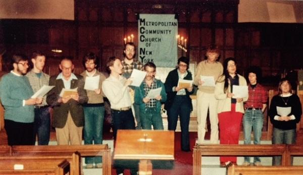 A church choir practices in the Metropolitan Community Church in New York. Karen Ziegler was a pastor of that church in the 1980s.