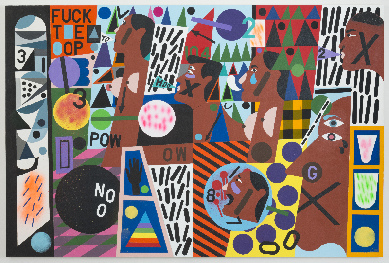 Nina Chanel Abney, Untitled (FUCK T*E *OP), 2014. Acrylic on canvas, 72 × 108 inches.