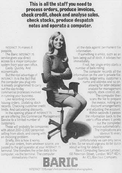 Machines disappear and computer labor starts to become the object of marketing by the 1970s. Ads focus on making the work seem simple and inexpensive by using young women.