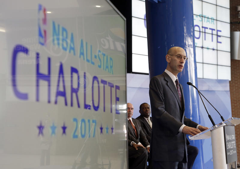 FILE - In this Tuesday, June 23, 2015 file photo NBA Commissioner Adam Silver speaks during a news conference to announce Charlotte, N.C., as the site of the 2017 NBA All-Star basketball game.