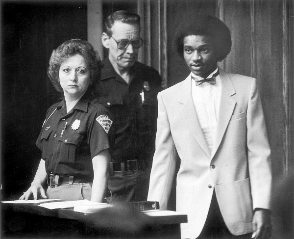 Hunt at his 1985 trial for the murder of Deborah Sykes