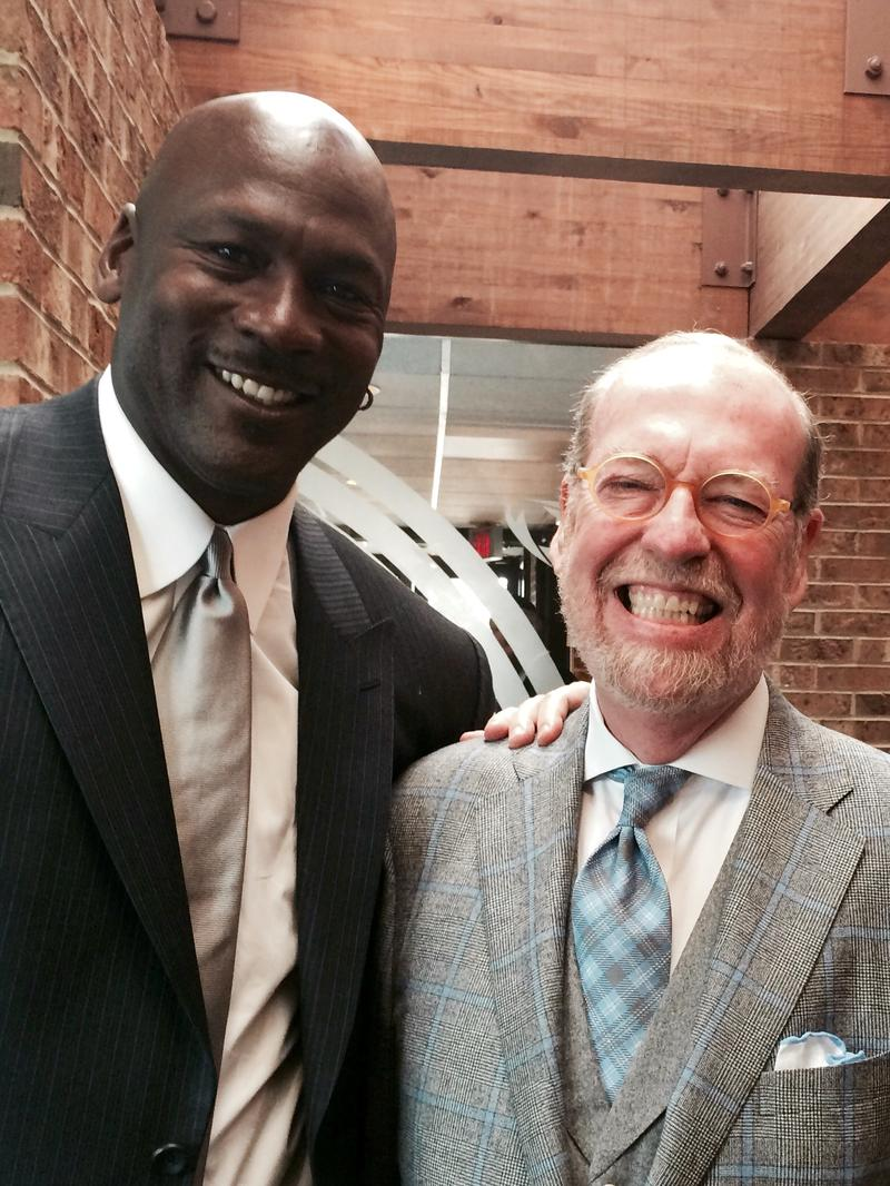 Alexander Julian pictured with basketball legend and former Tar Heel Michael Jordan.