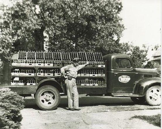 A photo of a vintage Cheerwine delivery truck.