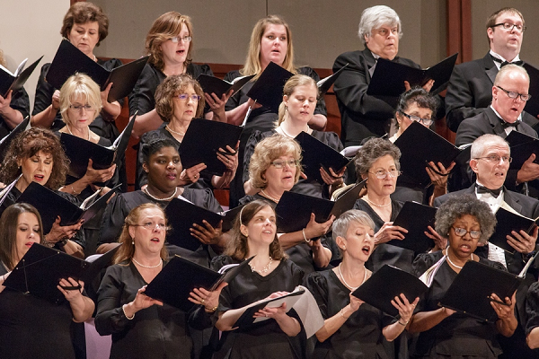 The North Carolina Master Chorale Chamber Choir during a performance of Brahms' German Requiem at Meymandi Concert Hall.