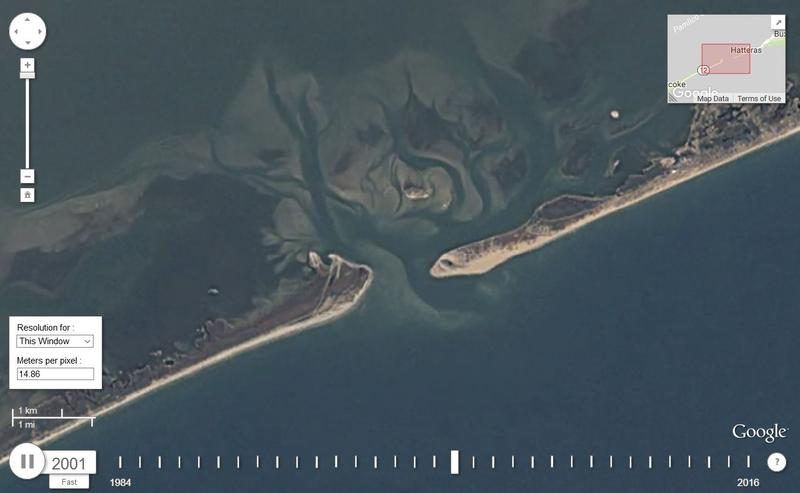 A screenshot taken of the Google timelapse video over Hatteras.