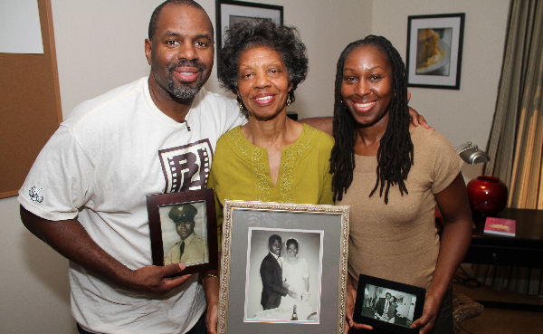 Filmmaker Byron Hurt with his mother, Frances Hurt, and sister, Taundra Hurt