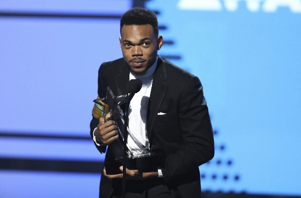 Chance The Rapper accepts the humanitarian award at the BET Awards at the Microsoft Theater on Sunday, June 25, 2017, in Los Angeles.