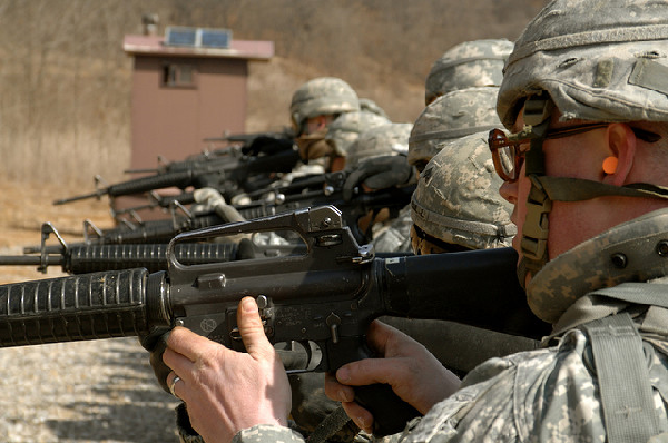 Soldier training with firearm