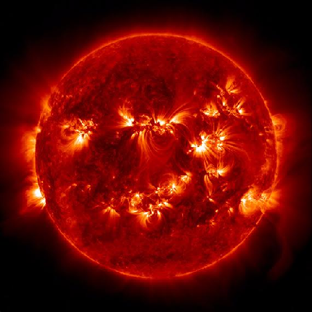 This image shows how the Sun would look at the extreme ultraviolet wavelength end of the spectrum.