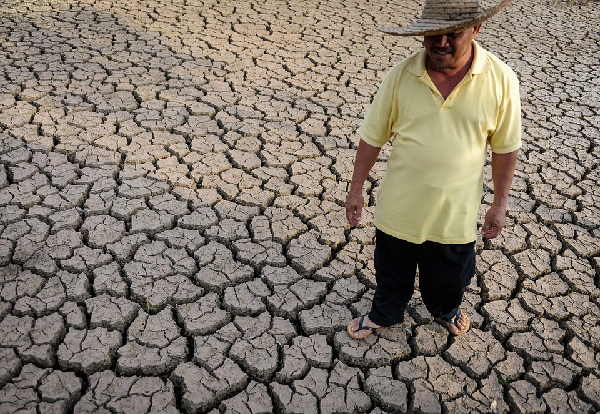 Man stands on arid land created from drought