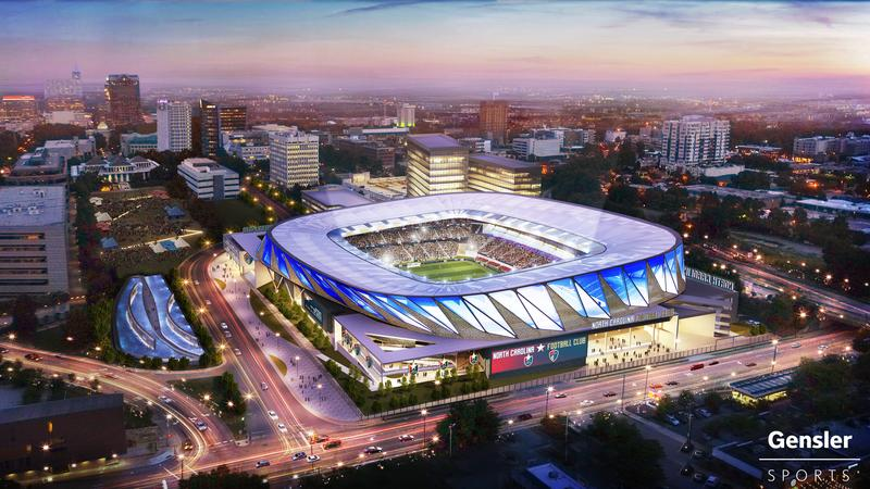 Rendering of the proposed downtown Raleigh soccer stadium, if North Carolina F.C. is admitted as a franchise in Major League Soccer.
