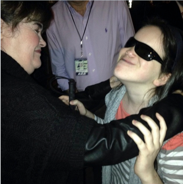 Mikels with one of her favorite singers, Susan Boyle, after her concert.