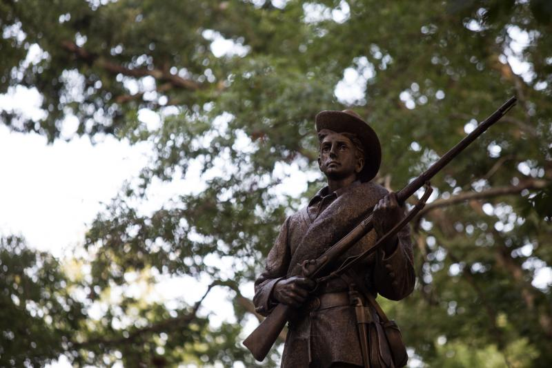 The Silent Sam monument stands prominently on the University of North Carolina at Chapel Hill's campus. Protestors for and against the statue's removal attended rallies near the monument on Tuesday, August 22, 2017.