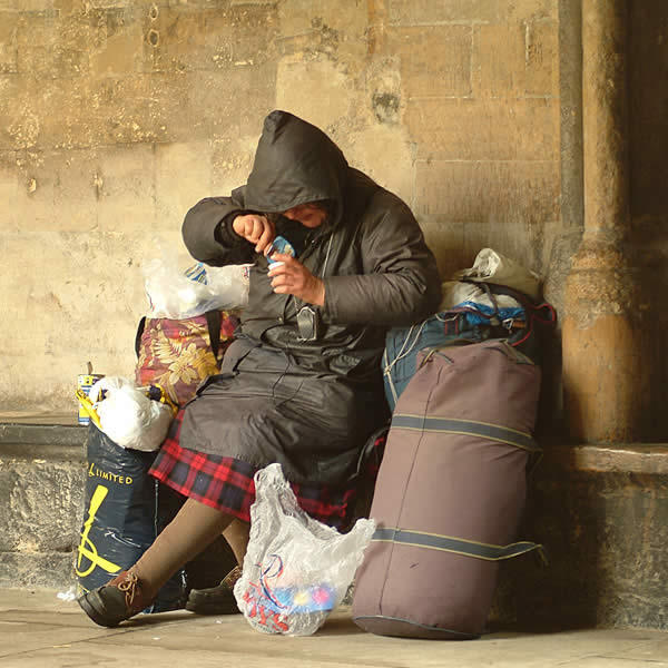 a homeless woman