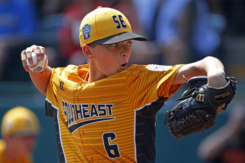 Greenville, N.C., pitcher Chase Anderson delivers in the second inning of a baseball game against Rancho Santa Margarita, Calif., in United States pool play at the Little League World Series tournament in South Williamsport, Pa., Sunday, Aug. 20, 2017. No